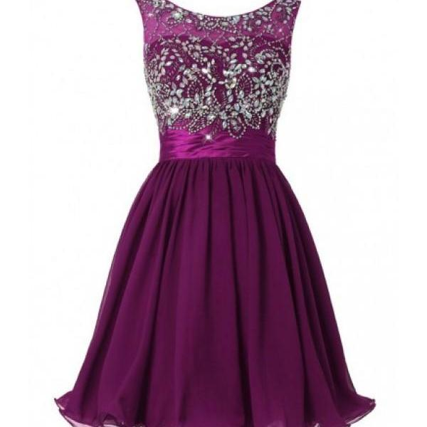 Mini Purple Chiffon Homecoming Dresses Crystals Women Party Dresses